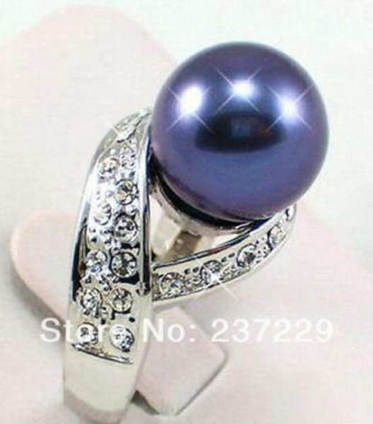 FREE SHIPPING>>>Black Blue South Sea Shell Pearl Silver Crystal Ring