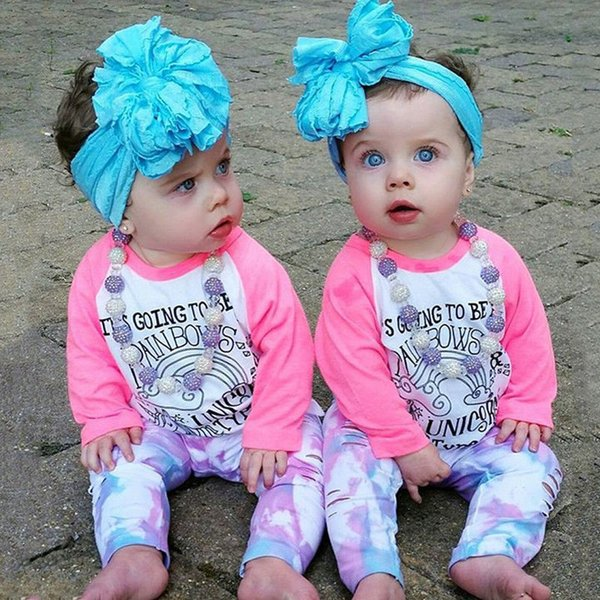 Kid clothes girls pink unicorn T-shirt trousers headband 2 pieces set letter print outfits hole pants baby adorable wholesale clothing 1-6T