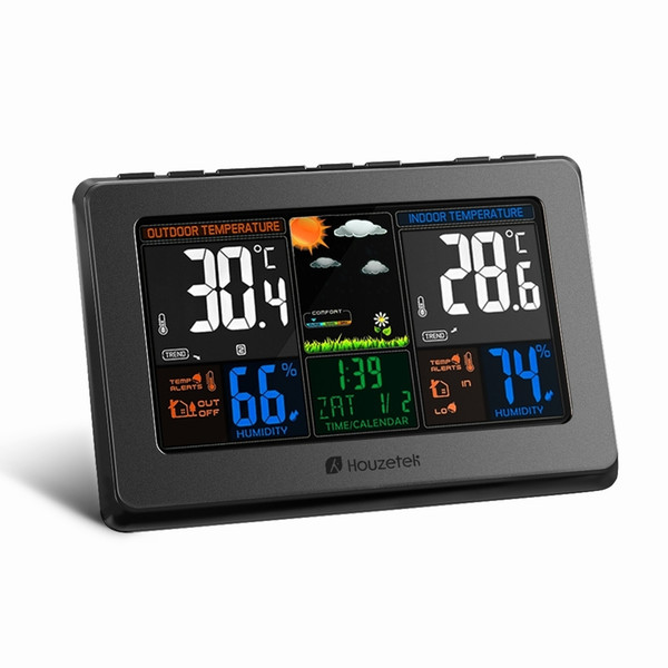 Weather Station Temperature Humidity Meter Sensor Hygrometer Digital Thermometer Wireless Touch LCD Clock Indoor Outdoor
