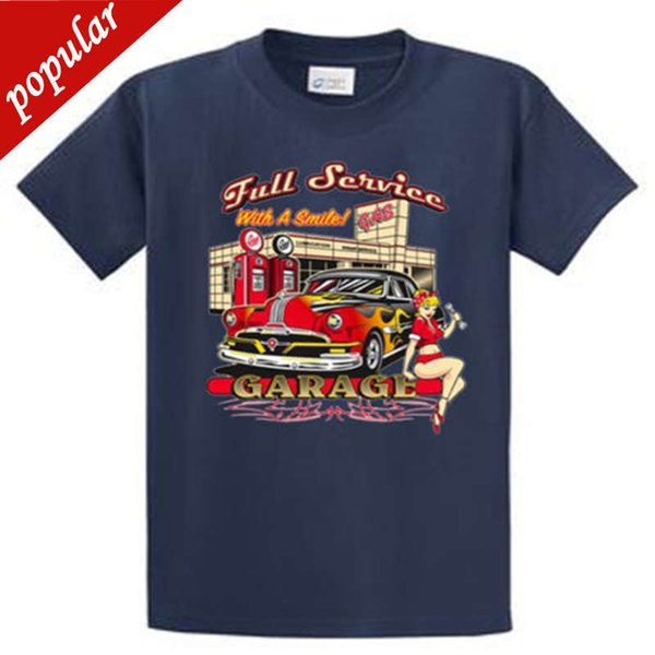 2018 Latest Funny Men Crew Neck Full Service Garage Printed Tee Shirts Regular to Big and Tall Size Plus Size Casual Clothing