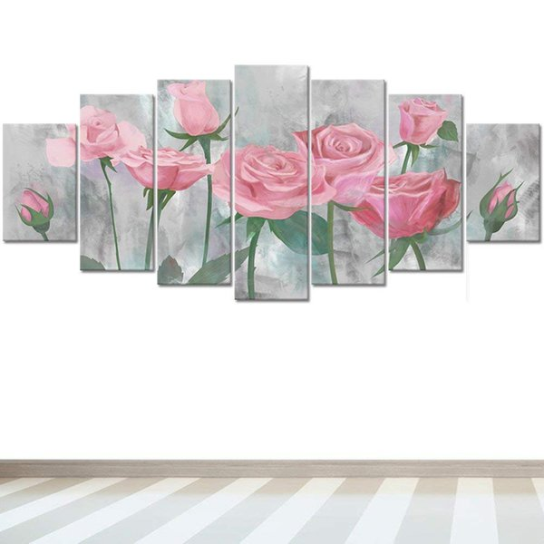 7pieces Premium Flowers Artwork Pink Rose on Grey Canvas Hand Painted Floral Oil Painting For Home Office Gallery Room Wall Decor