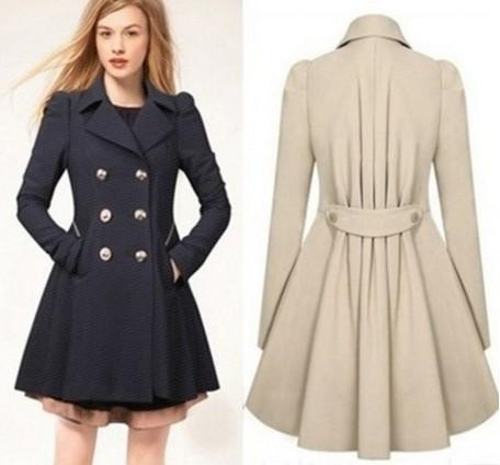 Fashion Women Clothes Trench Coats Parka women jackets Elegant Wind Coat with Double Button Navy Blue Solid Color Long Sleeve winter jacket