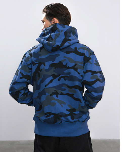 Winter New Collection Men Hoodies Thick Velvet Fabrics Streetwear Hip Hop Camouflage Winter Hoodies