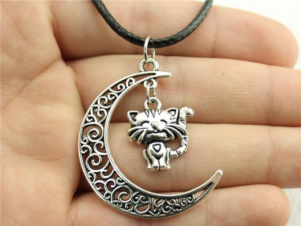 WYSIWYG 5 Pieces Leather Chain Necklaces Pendants Choker Collar Male Necklace Fashion Smile Cat 19x17mm N6-B11573-B12877
