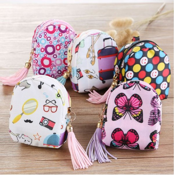 Vintage Women canvas change coin Purse wallet keys bag pocket holder zipper cosmetic makeup organize children party favor