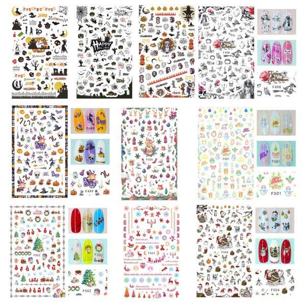 10Pcs Xmas Halloween Mix Back Glue Sticker Nail Art Foils Wraps Gift DIY Kids Decals Bat/Death/Christmas Tree Nails Decorations