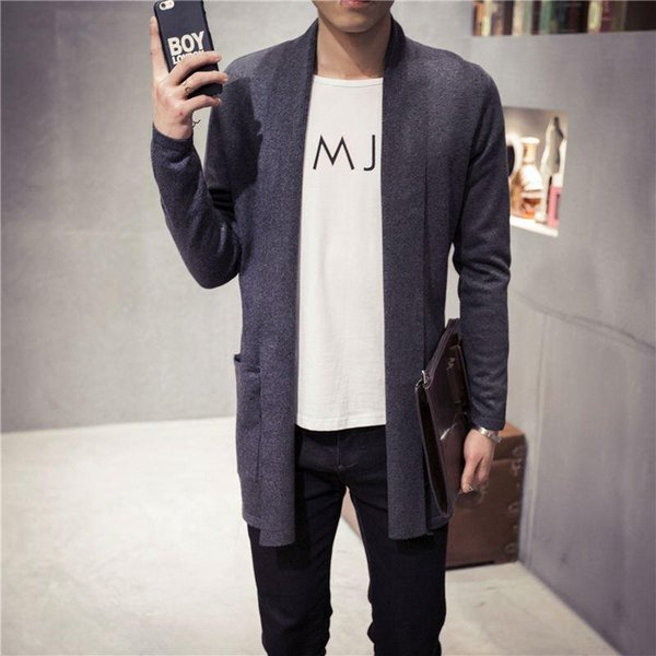 Mens Cashmere Sweater Plus Size Spring New Slim Fit Cardigan Men Long Simple Turn Down Collar Casual Sweater Men 5XL-M 5Colors