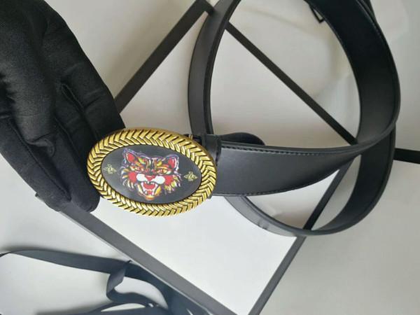 Wholesale high quality smooth surface belt belt fashion oval shape black and gold optional tiger head pattern buckle Designer Men belt