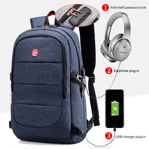 Mens Anti Theft Lock Laptop Backpacks Large School Bags Male Travel Bags With Headphone Plug For Business XA49ZC