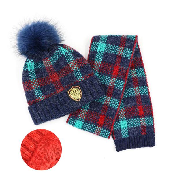 Winter Girl Hat Set Kids Scarf And Hat Sets Boys Plaid Knitted Add Velvet Fur Pom Pom Beanie Cap Scarves Set Warm 2 Pcs Suit