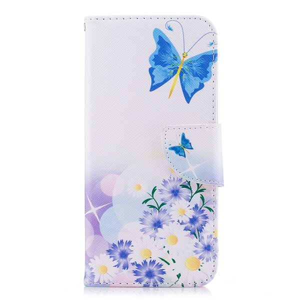 Blue Butterfly Fly in Flower Phone Case Stand PU Leather Cover with Card Slot Money Holder 165 Models for Option