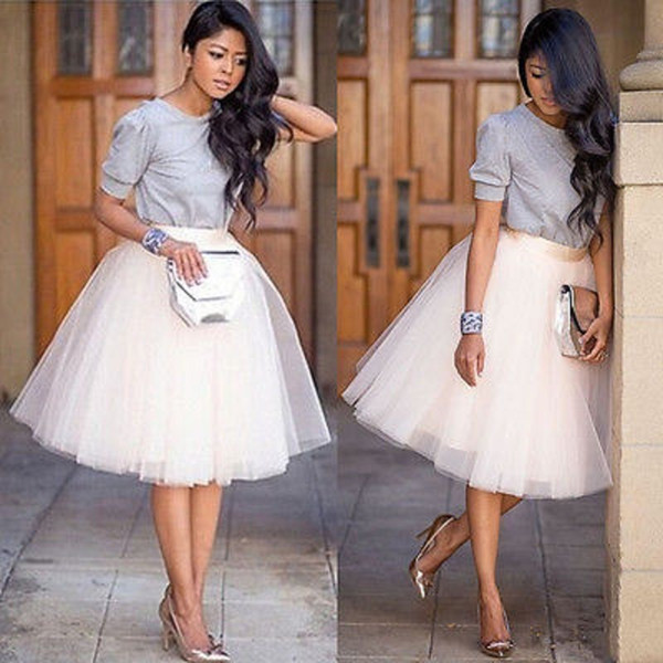Chiffon plus size Female Tutu Tulle Skirts Puff Women Chiffon Tulle Skirt White Black faldas Vestido High waist