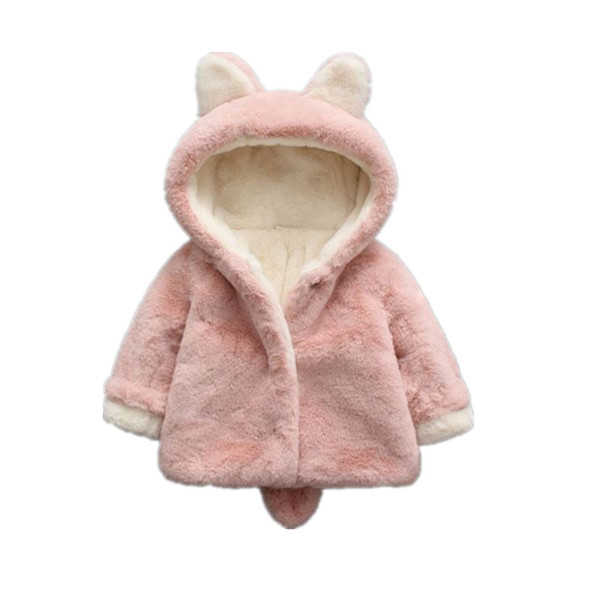 Pink Baby Faux Fur Coat Elegant Baby Girl winter Jackets Coats Thick Warm outwear for girl jacket with ears