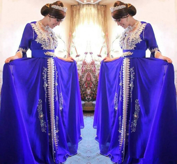 Luxury Pearls Beaded Party prom Dress Scoop Neck 3/4 Sleeve Sash Applique Zipper kaftan abaya pakistan Gorgeous Women Chiffon Evening Dress