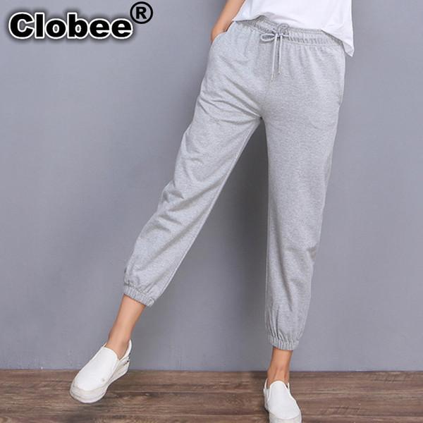 Clobee 2018 Palazzo Sweatpants Pants Women's Trousers Joggers Loose 100% Cotton Elastic Pants Capris Girls Students Sweatpants