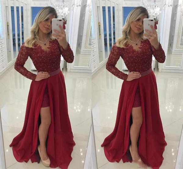 Long Sleeves High Split Prom Dresses Chiffon Lace Beaded V Neck Sweep Train Formal Evening Party Gowns Long Prom Dress