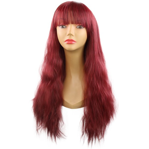 popular wave hair wigs Small roll adult curly long hairpiece COS daily Neat bang hair vendors red light brown