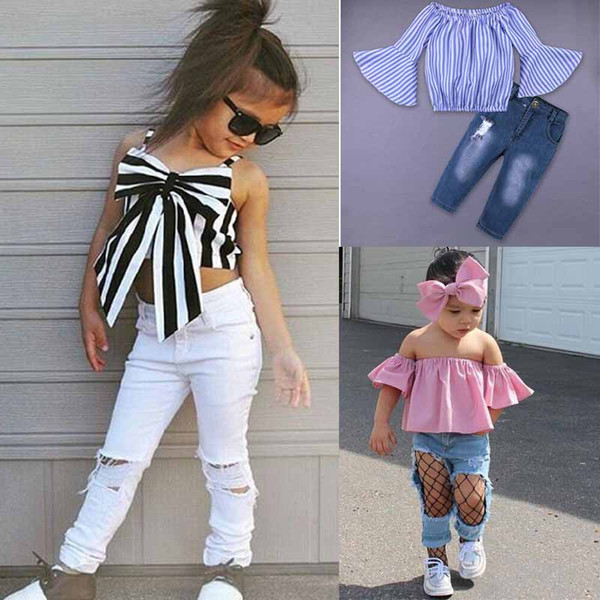 dhl europe kids clothing new styles selling girl summer sets strapless striped shirt+ hole jeans girls clothes girls t shirt set