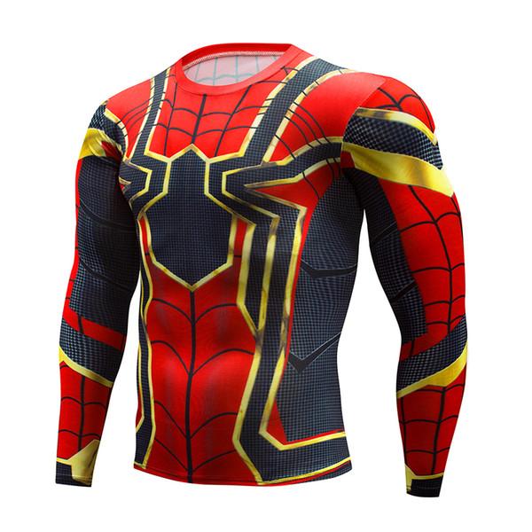 Men's fitness long sleeves Running workout t shirt superhero Peter Parker gym tight tee shirts man cycling Sportswear