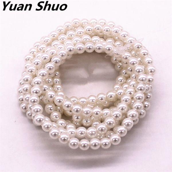 Moda nuovo diametro 6 mm imitazione perla 8 combinato braccialetto elastico signora 2016 produttori di trasporto libero all'ingrosso diretto