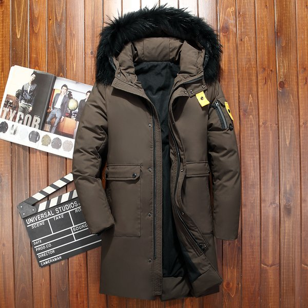 2018 Men Winter Jacket White Duck Down Coats Mens Duck Feather Parka Fur Collar Hooded Brown Male Jackets Free Shipping