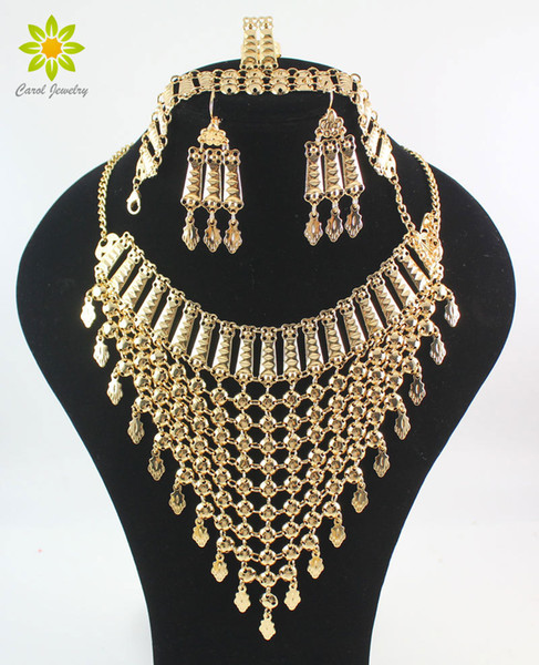 Fashion Jewelry Sets 2017 New Design Dubai Gold Color Fashion Wedding Bridal Accessories Costume Necklace Set African Costume Jewelry Sets