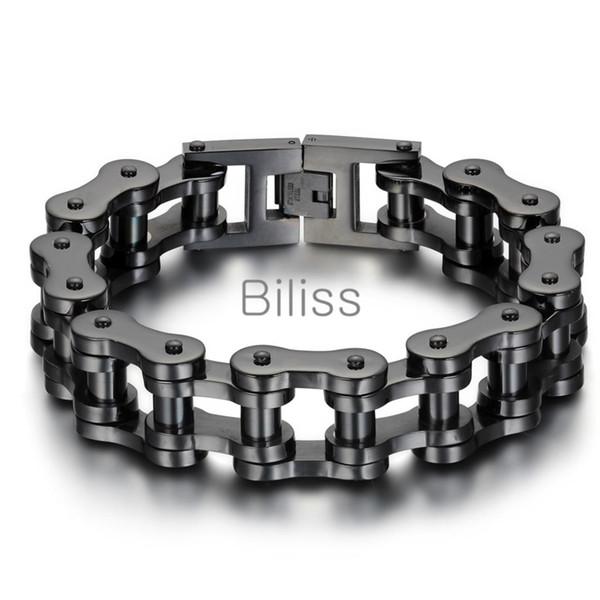 Black ilver heavy wide tainle teel bracelet 23cm 18mm men biker bicycle motorcycle chain men 039 bracelet men bangle