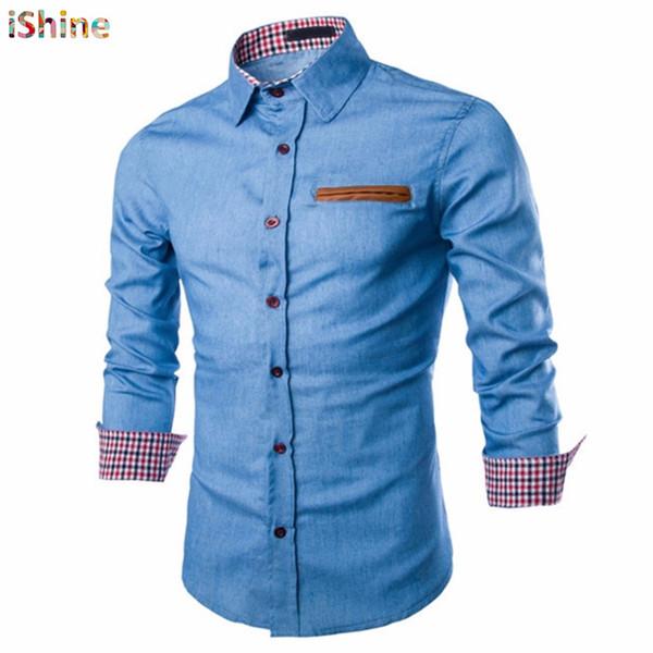 f73c7c9225 Tactical Business Denim Shirt Men Casual Jeans Dress Shirt Camisa Social  Masculina Slim Fit Blouse Autumn Long Sleeve Blusas