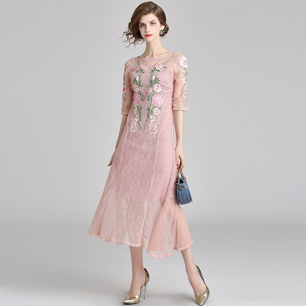 Femmes Bodycon Robes Party Evening Vestidos Robe En Dentelle Floral Broderie Gentle Style Robes Rose