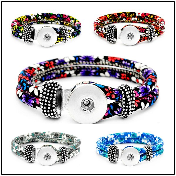 New 18mm Leather Snap Strands Button Bracelet Floral Button Bangle Wrist Watches Noosa DIY Jewelry for Women