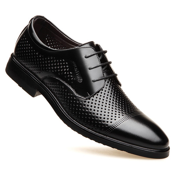high quality Summer Men Dress Formal Shoes Breathable Hollow Out Leather Male Oxfords Shoes Casual Business Wedding Shoes