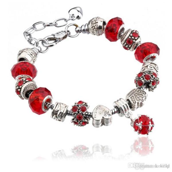 Fashion 925 Sterling Silver Daisies Murano Glass&Crystal European Charm Beads Fits Charm bracelets Style Bracelets 20+3CM AA02 KKA1062