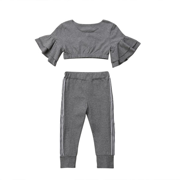 1-6Y Toddler Kids Girls Fall Autumn Clothes Flare Sleeve Crop Tops Slim Long Pant Legging 2PCS Outfits Tracksuit Clothing Set
