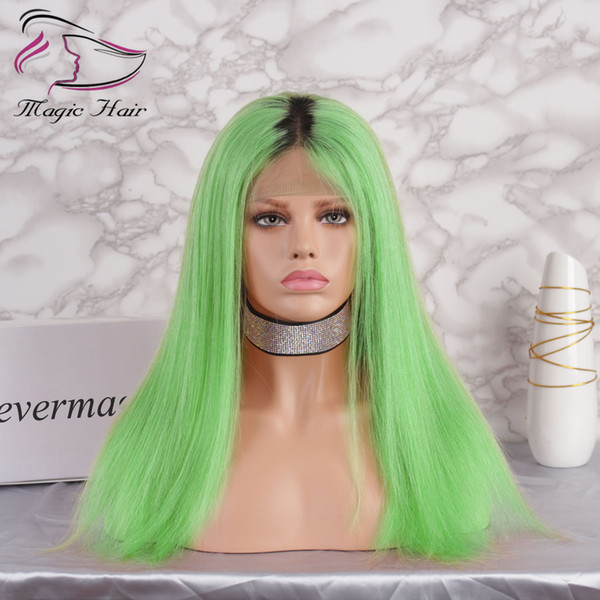 Ombre Green Color Glueless Full Lace Human Hair Wigs with Baby Hair Pre Plucked 130% Density Brazilian Virgin Hair Lace Front Wigs