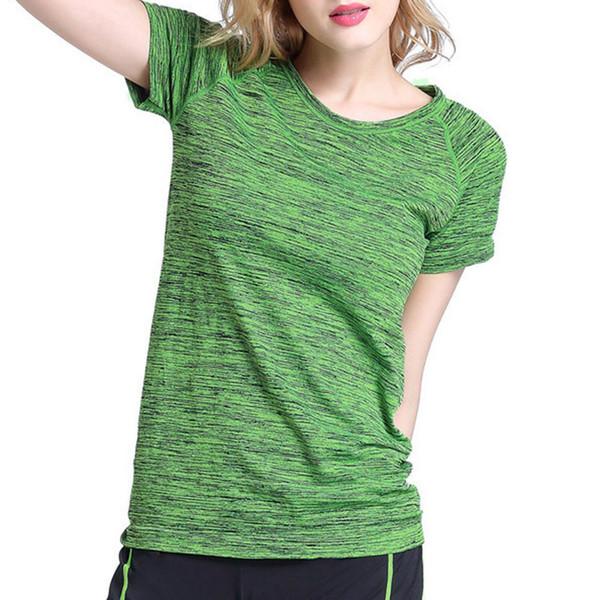 Fina Manga Corta Mujer Brillante Color Suelto Ropa Fitness Transpirable Sudor Absorbente Camiseta de secado rápido M / L