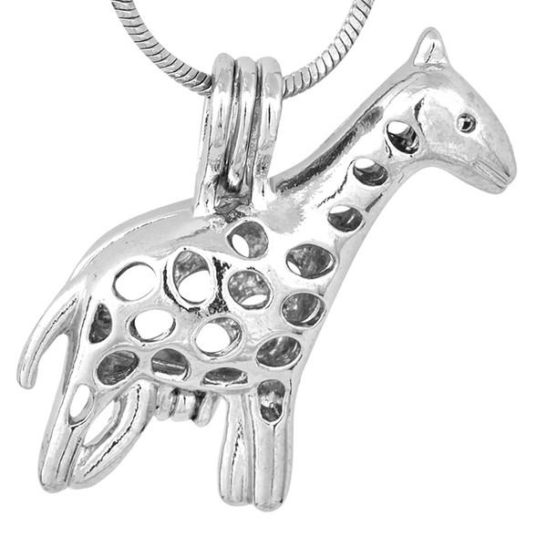 18 kgb Pretty Giraffe Pearl Cage Colgantes Para DIY Wish Love Pearl Colgante de Joyería Buen Regalo Mujeres P89