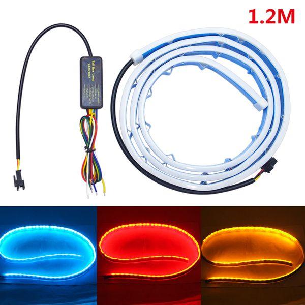 Universal 1.2m Car Rear Tail Box Light Streamer Brake Turn Signal LED Strip DRL Light Tail Decoration Accessories #3035