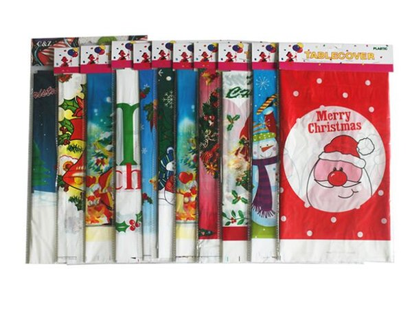 Christmas Disposable Tablecloth Merry Christmas Rectangular Printed PVC Cartoon Table Cloth Xmas Tableware Dining Kitchen Table Cover