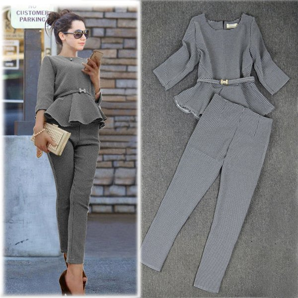 Otoño moda mujer trajes casuales Ruffles Top Houndstooth Checker patrón pantalones traje mujeres 2016 Plus XL RG411150 envío gratis