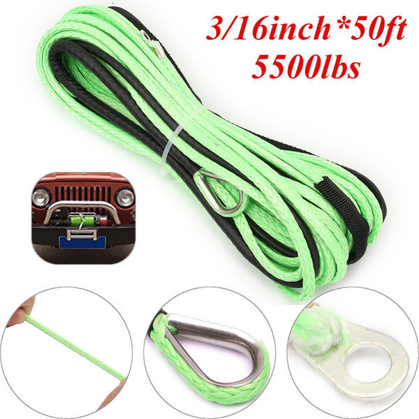 green 3/16inch*50ft atv utv winch line, synthetic winch rope cable with thimble
