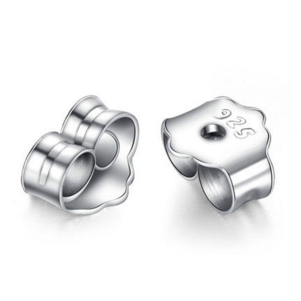 Wholesale 925 Sterling Silver Earplugs Metal hypoallergenic Earring Studs Back Stoppers Scrolls Ear Post Jewelry Findings Earplug 30% silver