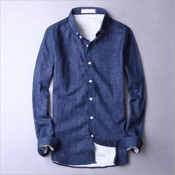 Fashion Luxury Men's Casual Long Sleeve Shirt 2018 New Arrival Men's Spring Autumn Shirt Solid Linen Cotton Blend Color Grey Blue Size S-4XL