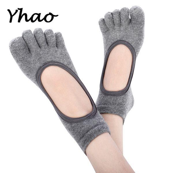 Yhao Gray Five Toes Backless Yoga Pilates Dance Socks Calzini antiscivolo per le donne Fit 35-39
