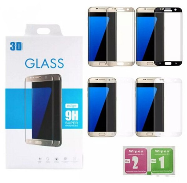 For Samsung galaxy S6 edge plus S7 Edge S8 S8 plus Note8 9H 3d Curved Side Full Cover Tempered Glass Screen Protector with Retail package