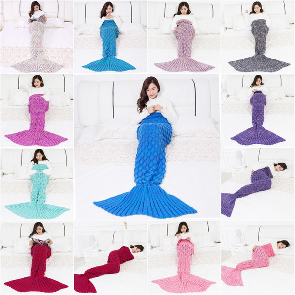 Adult Handmade Mermaid Tail Blanket Sofa Knit Blanket Cashmere Crochet Blanket Throw Bed Wrap For Sleeping 180x90CM 10 Color D428L