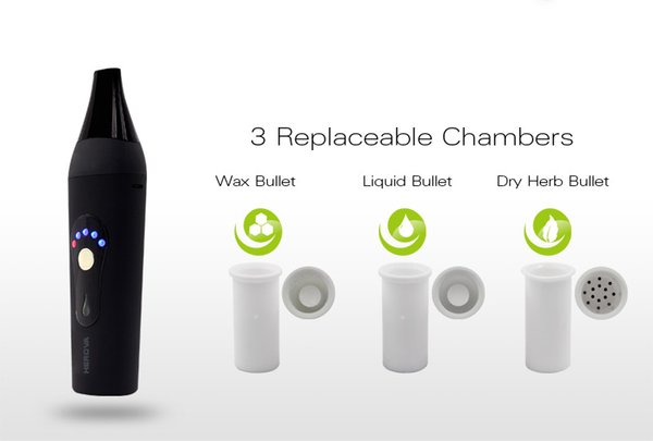 Popular 3 in 1 vaporizer pen Herova kit ceramic heat chamber wax dry herb oil atomizer with Temp control battery 2200mah