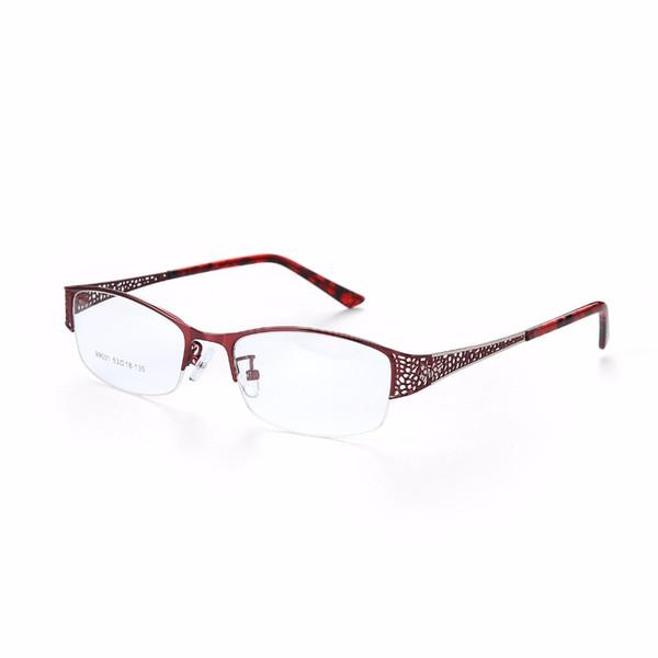 Metel titane Lunettes Rim moitié Cadre optique Prescription femmes lunettes de lecture Myopie Fleur Lunettes Violet 300782