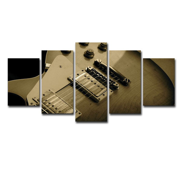 Wall Art Canvas Paintings Living Room Home Decor Poster Frame 5 Pieces Guitar Strings Blues Music Pictures Modular Prints