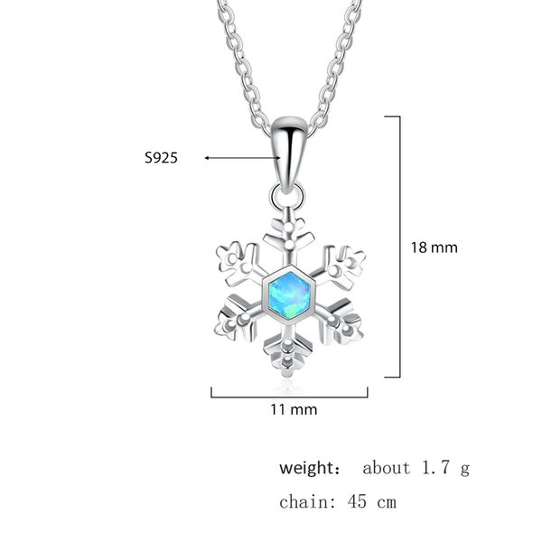 New Arrival 100% 925 Sterling Silver Snowflake Shape Opal Pendant & Necklace fashion Cross Necklace for Christmas