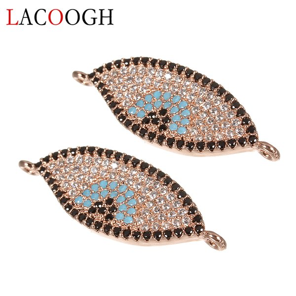 2pcs Retro Ethnic Bohemian Amulet Eyes Pendants for Necklace Bracelets Copper Pave CZ Charms Connectors DIY Jewelry Findings
